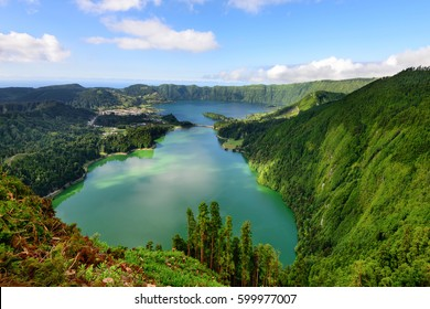 Amazing Azorean landscape. Panoramic view of the lake of Sete Cidades, Azores, Portugal. Viewpoint Vista do Rei at Sao Miguel. The Azores are one of the main tourist destinations in Portugal