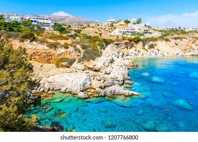 Amazing bay with beach in Ammopi village on sea coast of Karpathos island, Greece