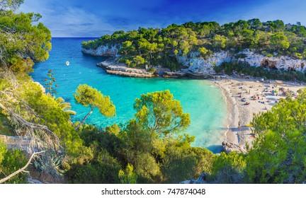 Amazing beach of Cala Llombards, Majorca island, Spain