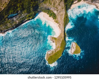 Amazing beach on Nusa Penida Island. Aerial drone view