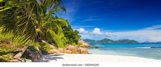 Amazing beach with palm trees and granite boulders on Anse Severe, La Digue Island, Seychelles