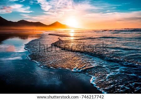 amazing beach sunset endless horizon lonely stock photo edit now