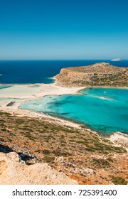 Amazing beach with turquoise water at Balos Lagoon and Gramvousa in Crete, Greece