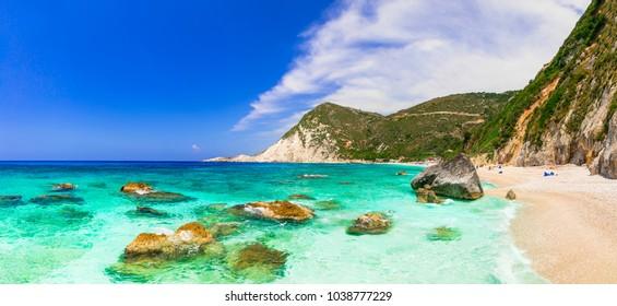 amazing beaches of Greece - beautiful Petani in Cefalonia island