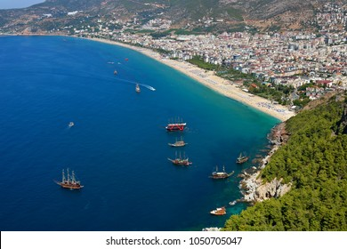 Amazing beaches view from Alanya Castle in Antalya, Turkey.
