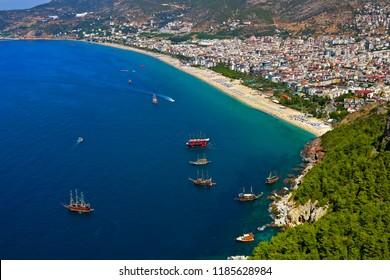 Amazing beaches view from Alanya Castle in Antalya, Turkey.