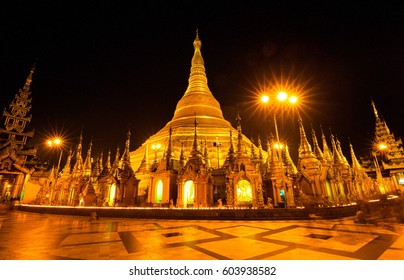 Amazing beautiful city landscape Yangon. Night in country Myanmar. Gold ancient pagoda Shwedagon.