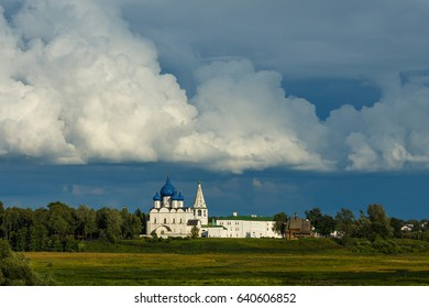 Amazing beautiful clouds in the sky over Suzdal Kremlin in summer. Suzdal - one of the cities of Golden ring of Russia.