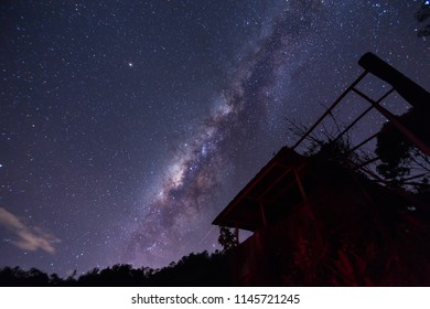 Amazing beautiful Dark sky of Sabah, Borneo with Milky Way Galaxy. / Beautiful Milky Way galaxy at Borneo. Long exposure photograph, with grain.Image contain certain grain or noise and soft focus.