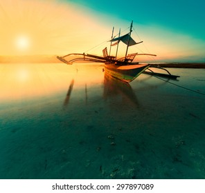 amazing beautiful fantastic fairy sunset boat sea tropical nature background travel holiday luxury  resort island atoll coral reef sunny summer