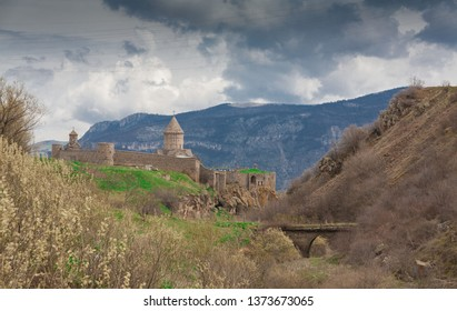 Amazing beautiful landscape. Old christianity unique church monastery Tatev. Armenia country. UNESCO World Heritage. Armenian showplace view. Architecture panorama.