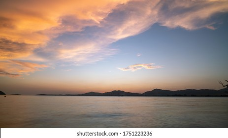Amazing Beautiful Light of nature Dramatic sky seascape in sunset or sunrise scenery background