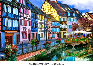 amazing beautiful places of France - colorful Colmar town in Alsace region