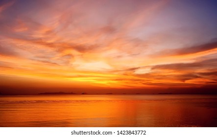Amazing beautiful sunset in the evening