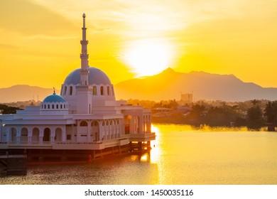 Amazing Beautiful Sunset of the floating mosque Kuching, Sarawak, Malaysia - Shutterstock ID 1450035116