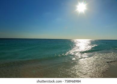 Amazing beauty Caribbean sea beach. Aruba island. Beautiful nature background.