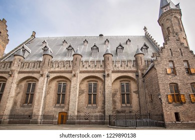 Amazing Binnenhof Palace in The Hague (Den Haag). Dutch Parliament buildings. Famous castle with fountains in front of it. The Netherlands, The Hague.