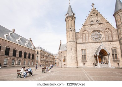 Amazing Binnenhof Palace in The Hague (Den Haag). Dutch Parliament buildings. Famous castle with fountains in front of it. The Netherlands, The Hague. 13 May 2018.