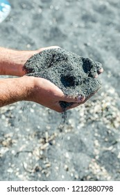 Amazing black pebble beach near Maratea, Basilicata, Italy
