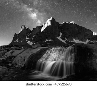 Amazing black and white night landscape in the Wind River Mountains, Wyoming, USA.