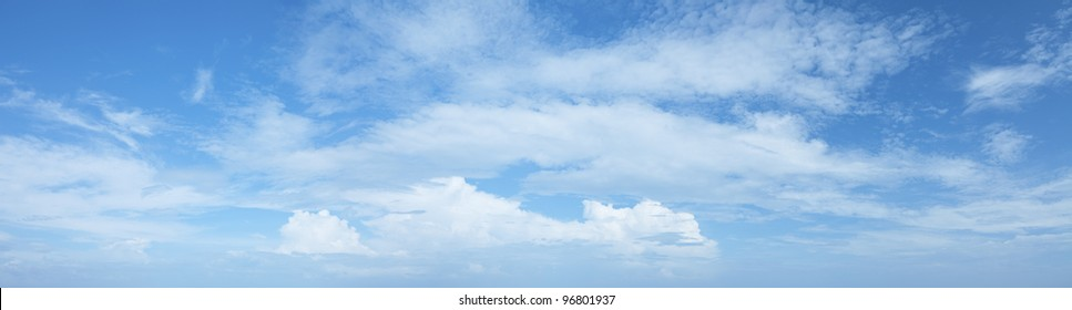 Amazing blue cloudy sky background. Panoramic composition in high resolution.