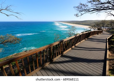 The amazing boardwalk along the coastal trail at North Gorge on North Stradbroke Island in Queensland Australia