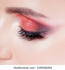 Amazing Bright eye makeup in luxurious scarlet shades. Pink and blue color, colored eyeshadow. Close up