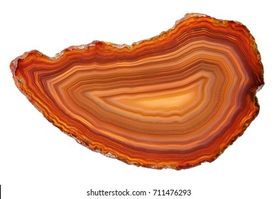 Amazing brown Agate Crystal cross section from Brasil with backlight isolated on white background. Natural translucent agate crystal surface,  Abstract structure slice mineral stone macro closeup