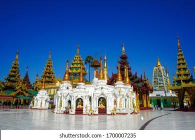 Amazing buddhism pagoda of Shwedagon which is located in Yangon. The most sacred Buddhist pagoda in Myanmar.