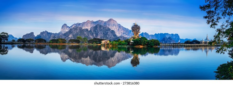 Amazing Buddhist Kyauk Kalap Pagoda under evening sky. Hpa-An, Myanmar (Burma) travel landscapes and destinations. Five images panorama