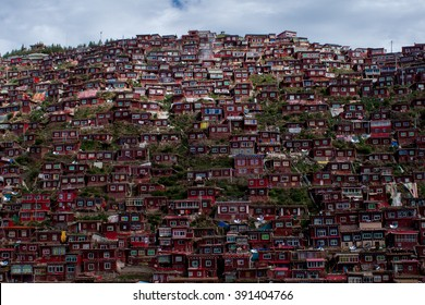 Amazing buddhist monastery in Tibet, Sichuan province, China