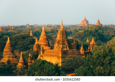Amazing buddhist temples during the sunset in Bagan - Myanmar.