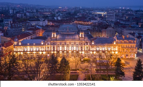 Amazing building at sunset in Ruse (Rousse) Bulgaria - aerial photo
