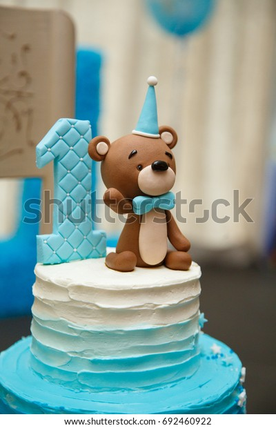 Pleasant Amazing Cake Boys First Birthday Blue Stock Photo Edit Now 692460922 Personalised Birthday Cards Veneteletsinfo
