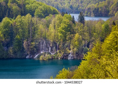 Amazing cascades and waterfalls connecting turquoise lakes, Plitvice Lakes National Park, Croatia