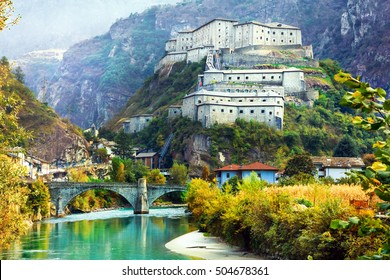 Amazing castles of Valle d'Aosta- Bard fortress, north Italy