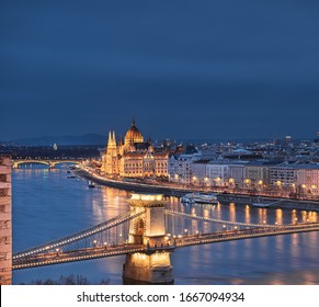 Amazing Chain Bridge with the Parliament in Budapest, Hungary