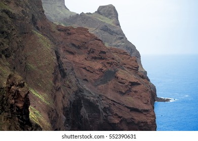 Amazing and characteristic rocks background from São Antão (Santo Antao) island in Cape Verde, Arica. Rocky hiking path near the town of Ponta do Sol