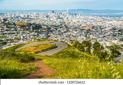 Amazing City Skyline View above Downtown San Francisco , California a Travel destination view from Twin Peaks Wild Flowers May 2018
