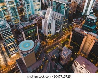 Amazing  cityscape of Santiago de Chile at dawn