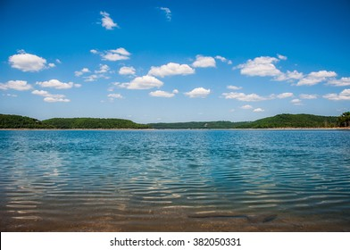 Amazing Clear Cold Waters Lakes of Arkansas on the shore waters edge near Eureka Springs , Arkansas the Green state with Ozark Mountains