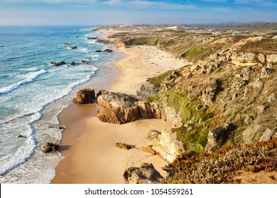 Amazing cliff rocks on the west coast of Portugal in Alentejo region