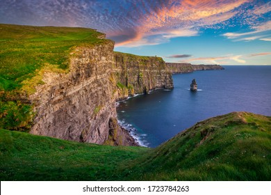 Amazing Cliffs of Moher at sunset in Ireland, County Clare.