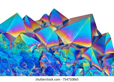 Amazing closeup of Blue Amethyst Quartz Rainbow Titanium Coating Aura Crystal cluster on white background. Macro of beautiful rare mineral stone
