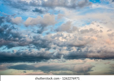 Amazing clouds floating on colorful sky before sunset