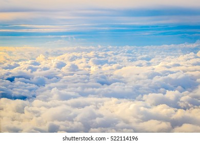 Amazing Cloudy Sky Background, Aerial View, Horizontal View