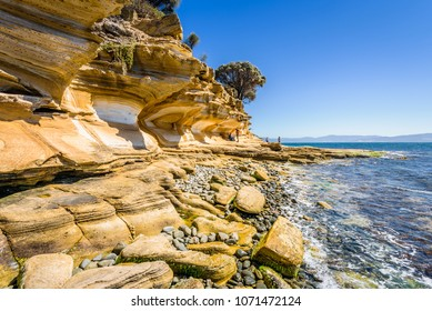 Amazing coast line called Painted Cliffs with orange yellow colored sand limestone rocks and geology structures at shore, perfect expedition on warm sunny clear day, Maria Island, Tasmania, Australia