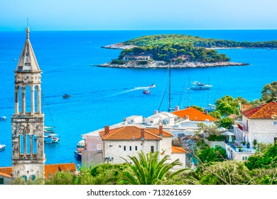 Amazing coastline view at town Hvar scenery in Croatia, Mediterranean summertime. / Selective focus.