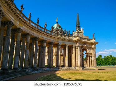 The amazing colonnades at New Palace in Sanssouci Park Potsdam - POTSDAM / GERMANY - MAY 22, 2018