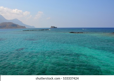 Amazing color of the water of the Mediterranean Sea, beautiful Crete